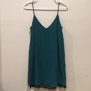 Teal Strap Dress with Bottom Lace Lining + TAGS